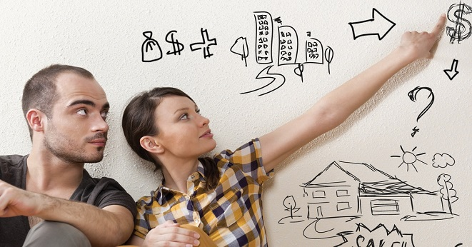 Wall drawing saving man and woman - Educators Financial
