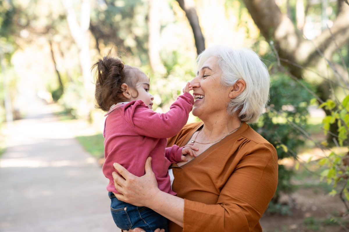 Grandmother And Granddaughter Having Good Time In Public Park