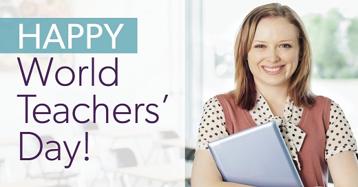 Happy World Teachers' Day woman holding book