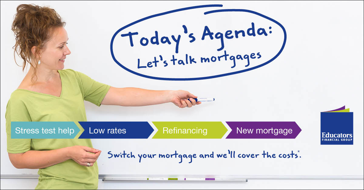 Educators Mortgage switch woman and whiteboard agenda